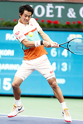 March 10, 2019 - Indian Wells, CA, U.S. - INDIAN WELLS, CA - MARCH 10: Kei Nishikori (JPN) hits a backhand during the second round of the BNP Paribas Open on March 10, 2019, at the Indian Wells Tennis Gardens in Indian Wells, CA. (Photo by Adam Davis/Icon Sportswire) (Credit Image: © Adam Davis/Icon SMI via ZUMA Press)