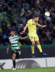 LISBON, Feb. 15, 2019  Raphinha (L) of Sporting vies with Alfonso Pedraza of Villarreal during the UEFA Europa League round of 32 first leg soccer match between Sporting CP and Villarreal in Lisbon, Portugal, on Feb. 14, 2019. Villarreal won 1-0. (Credit Image: © Xinhua via ZUMA Wire)