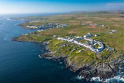 Aerial view of villages of Port Wemyss (near) and Portnahaven  on Rhinns of Islay on Islay , Inner Hebrides, Scotland UK