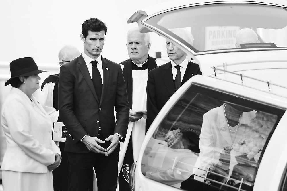 Australian Formula One champion Mark Webber pays his respects after helping carrying the casket at the State Funeral Service for Ronald Walker at St Paul's Cathedral on February 7, 2018 in Melbourne, Australia.  Ronald Walker, an astute businessman who was responsible for bringing major events to Melbourne, was also a key player in giving Webber his opportunity to compete in Formula One racing.