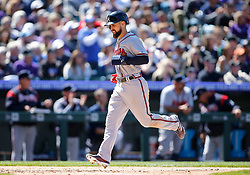 April 8, 2018 - Denver, CO, U.S. - DENVER, CO - APRIL 08: Atlanta Braves Outfielder Ender Inciarte (11) scores during a regular season MLB game between the Colorado Rockies and the visiting Atlanta Braves on April 8, 2018 at Coors Field in Denver, CO. (Photo by Russell Lansford/Icon Sportswire) (Credit Image: © Russell Lansford/Icon SMI via ZUMA Press)
