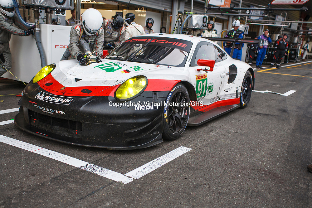 #91, Porsche Motorsport, Porsche 911 RSR (2017), driven by Richard Lietz, Frederic Makowiecki at WEC 6 Hours of Spa-Francorchamps 2017, Spa-Francorchamps race circuit, on 06.05.2017
