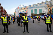 security outside Stamford Bridge before k/o. Barclays Premier league match, Chelsea v Everton at Stamford Bridge in London on Saturday 16th January 2016.<br /> pic by John Patrick Fletcher, Andrew Orchard sports photography.