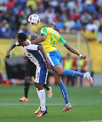 Thembinkosi Lorch of Chippa United (L) and Tebogo Langerman of Mamelodi Sundowns during the 1st leg of the MTN8 Semi Final between Chippa United and Mamelodi Sundowns held at the Nelson Mandela Bay Stadium in Port Elizabeth, South Africa on the 11th September 2016<br /><br />Photo by: Richard Huggard / Real Time Images