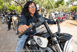 Precious Johnson  on her Bill Dodge Blings Cycle custom after the Perewitz Paint Show at the Broken Spoke Saloon during Daytona Beach Bike Week, FL. USA. Wednesday, March 13, 2019. Photography ©2019 Michael Lichter.