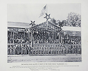 """THE GRAND STAND LOCATED IN FRONT OF THE WHITE HOUSE, WASHINGTON, D. C. from The American Civil War book and Grant album : """"art immortelles"""" : a portfolio of half-tone reproductions from rare and costly photographs designed to perpetuate the memory of General Ulysses S. Grant, depicting scenes and incidents in connection with the Civil War Published  in Boston and New York by W. H. Allen in 1894"""