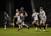 Sale Sharks No.8 Josh Strauss makes a break during the Aviva Premiership match Sale Sharks -V- Saracens at The AJ Bell Stadium, Salford, Greater Manchester, England on Friday, February 16, 2018. (Steve Flynn/Image of Sport)