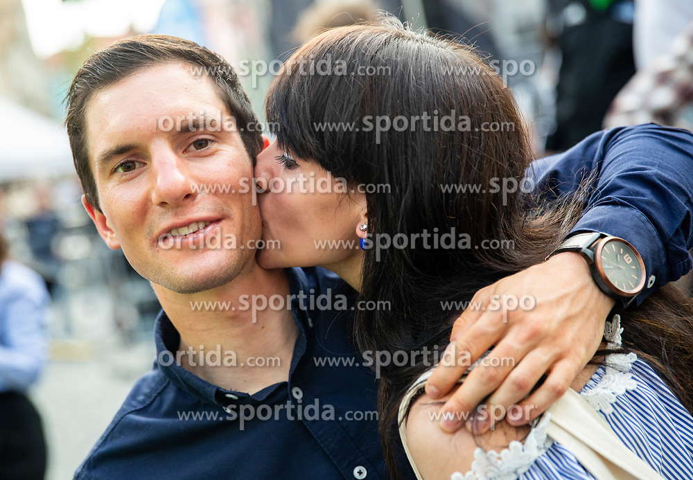 Jan Polanc kissed by his girlfriend Mateja Sprohar during reception of best Slovenian riders after Giro d'Italia 2019 and Tour of California 2019, on June 3rd, 2019, in Mestni trg, Ljubljana, Slovenia. Photo by Vid Ponikvar / Sportida