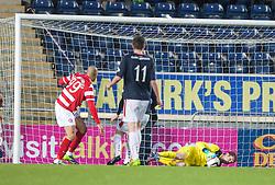 Falkirk's keeper Michael McGovern saves again.<br /> Falkirk 1 v 1 Hamilton, Scottish Premiership play-off semi-final first leg, played 13/5/2014 at the Falkirk Stadium.