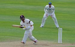 Somerset's Alex Barrow flicks the ball. Photo mandatory by-line: Harry Trump/JMP - Mobile: 07966 386802 - 10/05/15 - SPORT - CRICKET - Somerset v New Zealand - Day 3- The County Ground, Taunton, England.