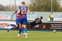 Falkirk's Myles Hippolyte penalty claim. Falkirk 0 v 0 Inverness Caledonian Thistle, Scottish Championship game played 14/10/2017 at The Falkirk Stadium.