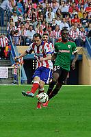 Atletico de Madrid´s Diego Godin and Athletic Club´s Inaki Williams during 2014-15 La Liga match between Atletico de Madrid and Athletic Club at Vicente Calderon stadium in Madrid, Spain. May 02, 2015. (ALTERPHOTOS/Luis Fernandez)