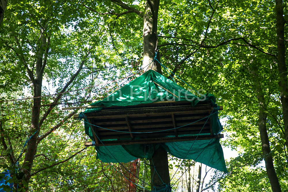 A tree platform in woodland at the Stop HS2 Wendover Active Resistance Camp is seen on 17th July 2020 in Wendover, United Kingdom. Environmental activists from groups including Stop HS2 and HS2 Rebellion continue to protest against HS2, which is currently projected to cost £106bn and which will remain a net contributor to CO2 emissions during its projected 120-year lifespan, on environmental and economic grounds.