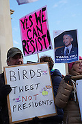 January, 21st, 2017 - Paris, Ile-de-France, France: Protesters with 'Yes We Can Resist' 'Birds Tweet not Presidents' placards at Trocadero. Thousands of protesters in Paris join anti-Trump Women's March around the world.