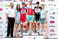 Winner Borut Bozic of Astana, second place for Marko Kump of KK Adria Mobil and third place for Luka Pibernik of KK Radenska after Slovenian National Championship Mirna Pec 2012, on June 24, 2012, in Mirna Pec, Slovenia. (Photo by Urban Urbanc / Sportida.com)