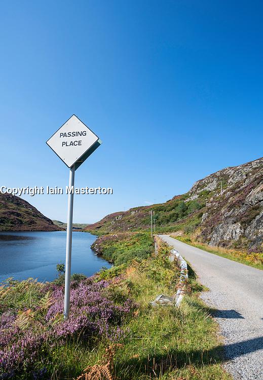 Remote highway B869 part of North Coast 500 tourist route, in Highland Region in summer, Scotland, United Kingdom