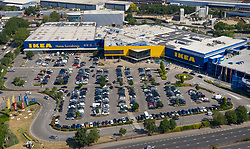 © Licensed to London News Pictures. 01/06/2020. London, UK. The car park at IKEA in Wembley, north London, which was until recently a coronavirus test centre, is full of customer's cars as the store opens for business for the first time since the lockdown was imposed in the UK. The government have announced new measures from today to allow groups of six people to meet outdoors and primary schools to re-open. Photo credit: Peter Macdiarmid/LNP