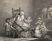 Village School. A 'Dame' School, showing the teacher spinning while supervising the children as they learn to read and sew.  Two little girls play with a doll.In the spinning wheel stand is a bunch of birch twigs ready to hit the children when they were naughty or inattentive. Late 18th century.