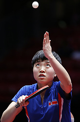 HALMSTAD, May 4, 2018  Kim Song I of the combined team of the Democratic People's Republic of Korea (DPRK) and South Korea serves to Ishikawa Kasumi of Japan during their women's semifinal match at 2018 World Team Table Tennis Championships in Halmstad, Sweden, May 4, 2018. Kim Song I lost with 2-3 and the combined team of the Democratic People's Republic of Korea (DPRK) and South Korea lost the match 0-3. (Credit Image: © Ye Pingfan/Xinhua via ZUMA Wire)