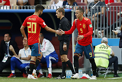 (l-r) Marco Asensio of Spain, Rodrigo Moreno of Spain during the 2018 FIFA World Cup Russia round of 16 match between Spain and Russia at the Luzhniki Stadium on July 01, 2018 in Moscow, Russia