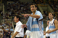 27/08/04 - ATHENS  - GREECE -  - BASKETBALL SEMIFINAL MATCH   - Indoor Olympic Stadium - <br />ARGENTINA win (89) over USA United States of America (81) <br />Argentine celebration after win the match.<br />Argentine player N*5 EMANUEL GINOBILI give instructiond to the players. In the back the coach RUBEN MAGNANO and N*4 PEPE SANCHEZ.<br />© Gabriel Piko / Argenpress.com / Piko-Press