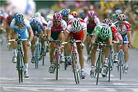 CYCLING - TOUR DE FRANCE 2004 - STAGE 14 - CARCASSONNE > NIMES - 18/07/2004 - PHOTO : NICO VEREECKEN / DIGITALSPORT<br /> SPRINT - ROBBIE MC EWEN (AUS) / LOTTO - DOMO - THOR HUSHOVD (NOR) / CREDIT AGRICOLE - ERIK ZABEL (GER) / T-MOBILE - DANILO HONDO (GER) / GEROLSTEINER