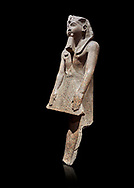 Ancient Egyptian statue of Ramesses II , granite, New Kingdom, 18th Dynasty, (1500-1400 BC, Karnak, Temple of Mut. Egyptian Museum, Turin. black background.<br /> <br /> The statue depicting Ramesses II  was reworked over a statue of an earlier pharaoh. This can be seen around the corners of the mouth which show reworking. The roundness of the face and short apron also point to an earlier style.  Ramesses II is depicted praying with his arms out straight and his hands resting flat on the apron of his kilt. .<br /> <br /> If you prefer to buy from our ALAMY PHOTO LIBRARY  Collection visit : https://www.alamy.com/portfolio/paul-williams-funkystock/ancient-egyptian-art-artefacts.html  . Type -   Turin   - into the LOWER SEARCH WITHIN GALLERY box. Refine search by adding background colour, subject etc<br /> <br /> Visit our ANCIENT WORLD PHOTO COLLECTIONS for more photos to download or buy as wall art prints https://funkystock.photoshelter.com/gallery-collection/Ancient-World-Art-Antiquities-Historic-Sites-Pictures-Images-of/C00006u26yqSkDOM