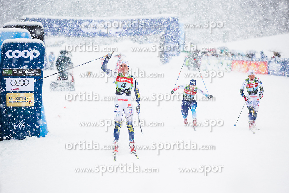 Linn Svahn (SWE) finishing 1st at the ladies team sprint race at FIS Cross Country World Cup Planica 2019, on December 22, 2019 at Planica, Slovenia. Photo By Peter Podobnik / Sportida