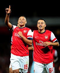Arsenal's Alex Oxlade-Chamberlain celebrates his wonder strike with fellow young team mate Arsenal's Nico Yennaris - Photo mandatory by-line: Joe Meredith/JMP  - Tel: Mobile:07966 386802 26/09/2012 - Arsenal v Coventry City  - SPORT - FOOTBALL - Capital One League Cup -  London  - Emirates Stadium