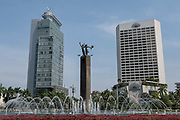 The Selamat Datang monument and water feature on the 21st October 2019 in central Jakarta in Java in Indonesia