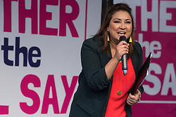 London, UK. 19 October, 2019. Ayesha Hazarika, comedian, broadcaster and journalist, addresses hundreds of thousands of pro-EU citizens at a Together for the Final Say People's Vote rally in Parliament Square as MPs meet in a 'super Saturday' Commons session, the first such sitting since the Falklands conflict, to vote, subject to the Sir Oliver Letwin amendment, on the Brexit deal negotiated by Prime Minister Boris Johnson with the European Union.