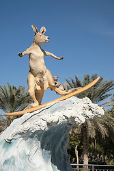 Statue of surfing kangaroo in Zabeel Park Dubai, The Gold Coast in Australia is twinned with Dubai United Arab Emirates