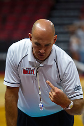BLOOMINGTON, IL - September 15: Joseph Gustafson speaks to the bench officials during a college Women's volleyball match between the ISU Redbirds and the Marquette Golden Eagles on September 15 2019 at Illinois State University in Normal, IL. (Photo by Alan Look)