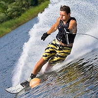 Hungarian champion Gabor Nemeth practices during the training day of an international slalom water ski competition in Kal.