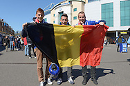 a group of Belgium supporters outside Stamford Bridge before k/o. Barclays Premier league match, Chelsea v Manchester Utd at Stamford Bridge Stadium in London on Saturday 18th April 2015.<br /> pic by John Patrick Fletcher, Andrew Orchard sports photography.
