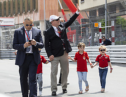 Jacques Grimaldi, Prince Albert II of Monaco, Kaia Rose Wittstock, Gabriella Grimaldi stroll along the pit lane at the 77th Monaco Grand Prix, Monaco on May 25, 2019. Photo by Marco Piovanotto/ABACAPRESS.COM