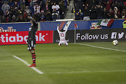 March 13, 2018 - Harrison, New Jersey, United States - Alejandro Kaku Romero Camarra (10) of Red Bulls celebrates scoring goal during Scotiabank Concacaf Champions League quarterfinal second leg game against Club Tijuana at Red Bull Arena Red Bulls won 3 - 1 (5 - 1 on aggregate) (Credit Image: © Lev Radin/Pacific Press via ZUMA Wire)