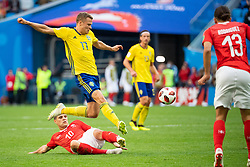 July 3, 2018 - St Petersburg, Russia - 180703 Granit Xhaka of Switzerland competes for the ball with Viktor Claesson of Sweden during the FIFA World Cup round of 16 match between Sweden and Switzerland on July 3, 2018 in ST Petersburg..Photo: Petter Arvidson / BILDBYRÃ…N / kod PA / 87748 (Credit Image: © Petter Arvidson/Bildbyran via ZUMA Press)