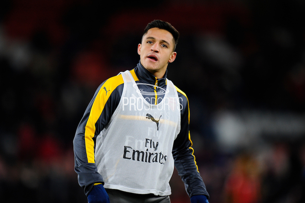 Alexis Sanchez (7) of Arsenal warming up before the Premier League match between Bournemouth and Arsenal at the Vitality Stadium, Bournemouth, England on 3 January 2017. Photo by Graham Hunt.
