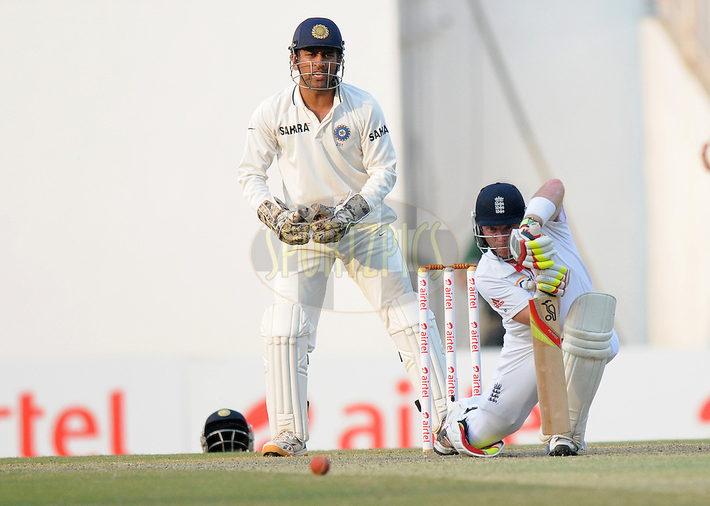 MS Dhoni captain of India looks on as Ian Bell of England bats during day four of the 4th Airtel Test Match between India and England held at VCA ground in Nagpur on the 16th December 2012..Photo by  Pal Pillai/BCCI/SPORTZPICS .