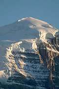 Closeup view of the glacier at the summit of Fairview Mountain.Lake Louise are of Banff National Park, Canada