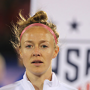 Becky Sauerbrunn, USA, during team National Anthems before the USA Vs Colombia, Women's International friendly football match at the Pratt & Whitney Stadium, East Hartford, Connecticut, USA. 6th April 2016. Photo Tim Clayton