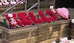 A floral tribute at the funeral of Kelly Brewster, who died in the Manchester Arena terror attack, at City Road Cemetery in Sheffield.