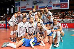 28-09-2015 NED: Volleyball European Championship Polen - Slovenie, Apeldoorn<br /> Polen wint met 3-0 van Slovenie / Team Slovenie<br /> Photo by Ronald Hoogendoorn / Sportida