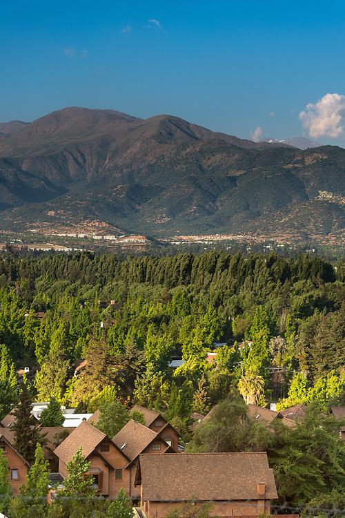 View of La Dehesa neighborhood, a very wealthy and exclusive neighborhood in the North-Orient side of Santiago de Chile.