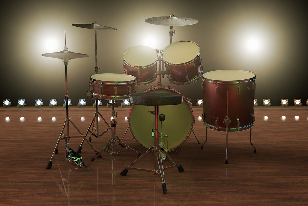 3D rendering of a drums on a stage
