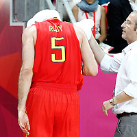31 July 2012: Spain Rudy Fernandez goes back to the locker room after being injured at the head during the first half of Spain vs Australia, during the men's basketball preliminary, at the Basketball Arena, in London, Great Britain.