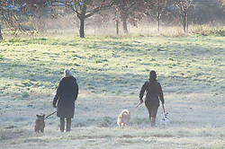 © Licensed to London News Pictures. 04/12/2018. Orpington, UK.Dog walkers enjoying an icy picturesque scene at Footscray Meadows,Sidcup. Freezing cold winter weather conditions this morning across the UK as temperatures drop.Photo credit: Grant Falvey/LNP