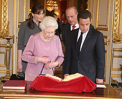 Buckingham Palace has announced Prince Philip, The Duke of Edinburgh, has passed away age 99 - FILE - Queen Elizabeth II, French President Nicolas Sarkozy, Prince Philip and French First Lady Carla Bruni-Sarkozy visit the French artwork royal collection room at Windsor Castle, UK, on March 26, 2008. Photo by Alain Benainous/Pool/ABACAPRESS.COM