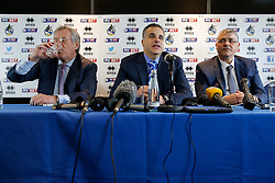 New Bristol Rovers Chairman Steve Hamer and New club President Wael Al-Qadi and his brother Sam Al-Qadi address the media at a press conference to announce that Bristol Rovers has been aquired by the Jordanian Al-Qadi Family who have taken a 92 percent stake in the club - Mandatory byline: Rogan Thomson/JMP - 07966 386802 - 19/02/2016 - FOOTBALL - Memorial Stadium - Bristol, England - Bristol Rovers New Owners.